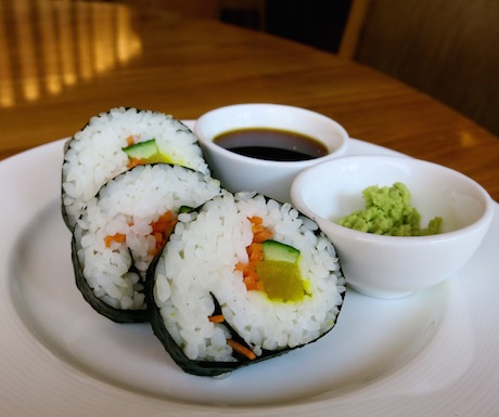 Vegetable sushi is always a favourite of ours for breakfast.