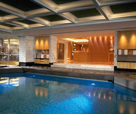 The pool and spa area at the Kowloon Shangri-La Hong Kong.
