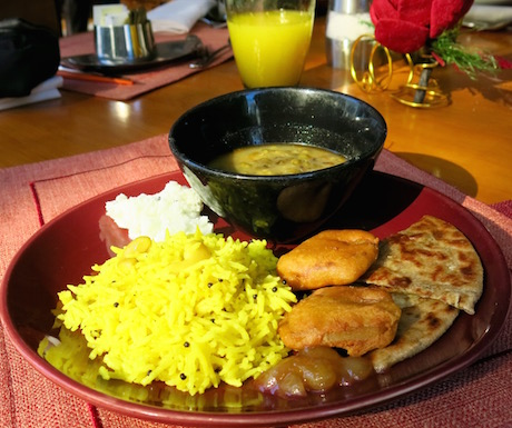 selection of vegan Indian food at Kowloon Shangri-La