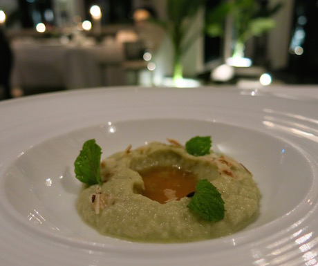 Creamy aubergine mousse, sour apple gel, toasted hazelnuts and mint make up another great vegan dish for us to eat.