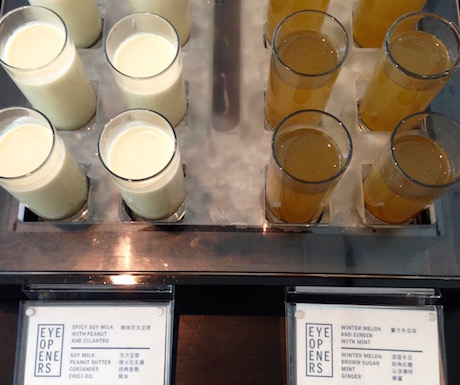 Vegan 'Eye Opener' shots at Le Meridien Taipei
