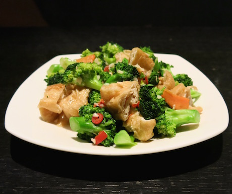 broccoli with tofu, chillies and garlic for breakfast at Le Meridien Taipei