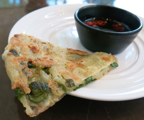Famous Taiwanese scallion pancakes, flaky and delicious and vegan at the Regent Taipei.