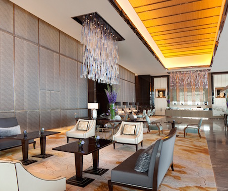 arrival lobby at Ritz Carlton Hong Kong