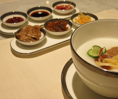 Vegan congee rice porridge in the Oriental Club at the Mandarin Oriental Taipei has a great selection of condiments.