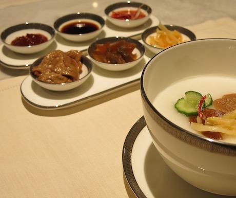 Vegan congee in the Oriental Club at Mandarin Oriental Taipei