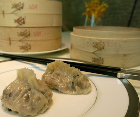 Mushroom filled dumplings were delicious at the Mandarin Oriental.