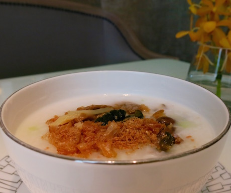 Vegan congee is a great option for breakfast at the Mandarin Oriental Taipei.