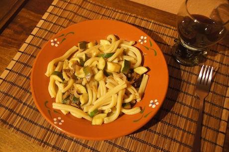 Vegan Italian Food - Strozzapreti con zucchine e porcini from Emilia-Romagna