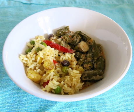 Pineapple fried rice and curried okra.