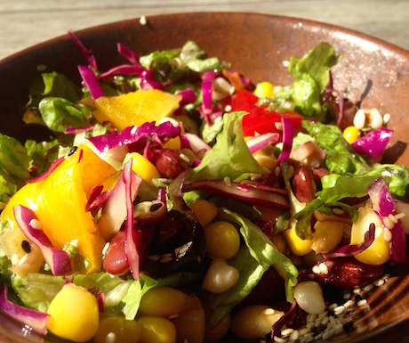 Vibrant and healthy salads to start to the day.