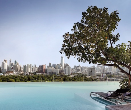 views from the infinity pool are pretty special at Sofitel So Bangkok