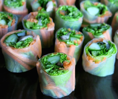 A platter of fresh spring rolls in Club Signature.