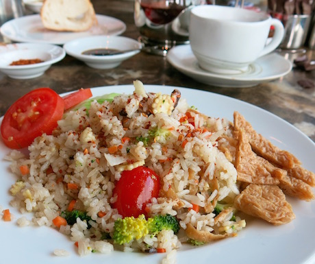Vegan fried rice with vegetables and tofu at Sofitel So Bangkok.
