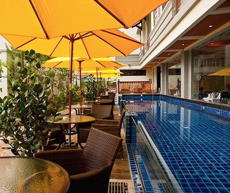 Modern and glass fronted lap pool at Hotel Penaga