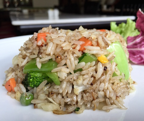 Vegan fried rice & vegetables for breakfast.