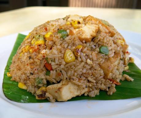 Vegan fried rice with tofu for breakfast at PARKROYAL Penang Resort