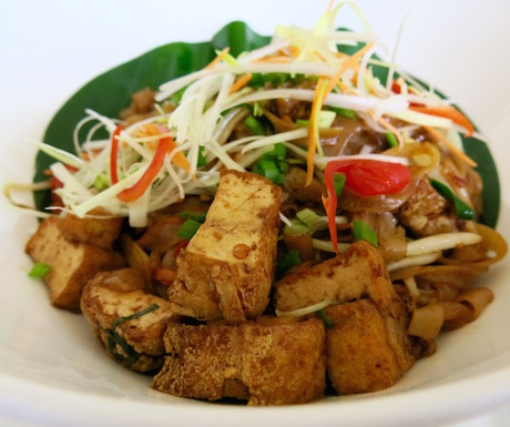 vegan Char Kway Teow with tofu and spicy rich rice noodles