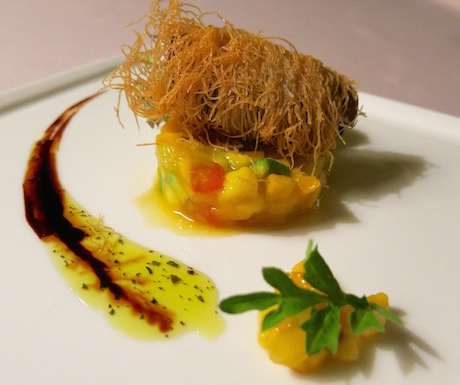 vegan spring rolls served with mango salsa at The Danna Langkawi