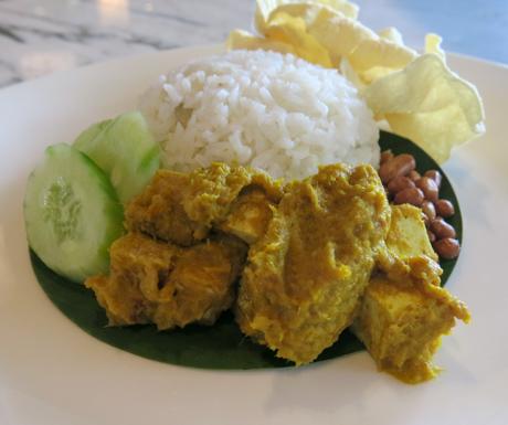 nasi lemak with tofu rendang at Four Seasons Resort Langkawi