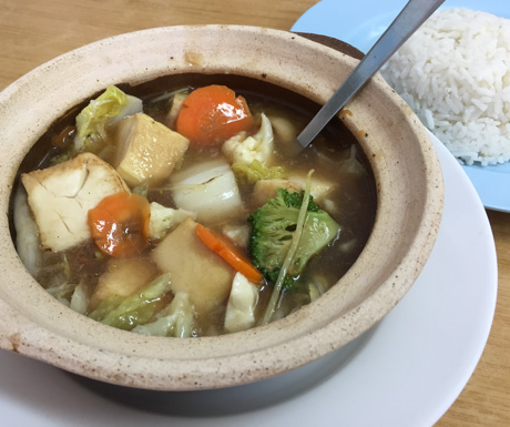 Vegetable and tofu hotpot at Xin An Vegetarian Cafe in Langkawi