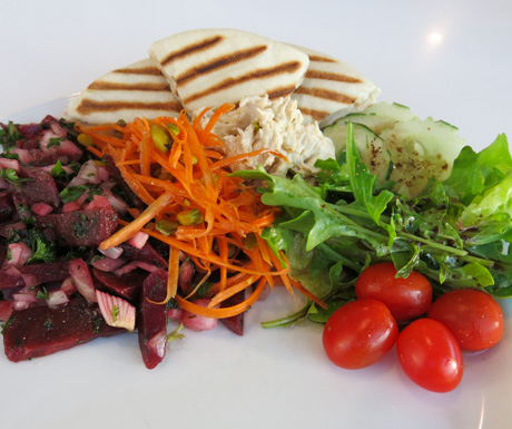 salad plate with hummus and pitta bread at The Westin Langkawi