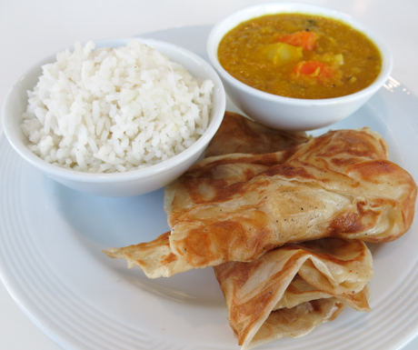 Dahl, rice and parata was available for breakfast at The Westin Langkawi