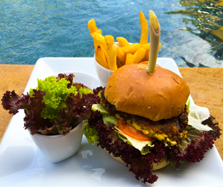 one of the vegan burgers at Baby Elephant Boutique Hotel in Siem Reap