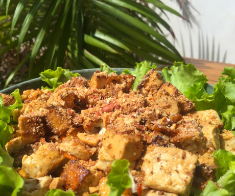 vegan tofu salad in Kampot