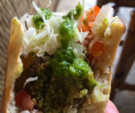 Tasty vegan falafel sandwich in Sihanoukville