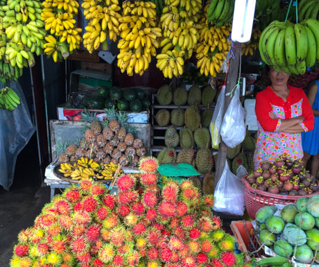fruit stall at market in Sihanoukville