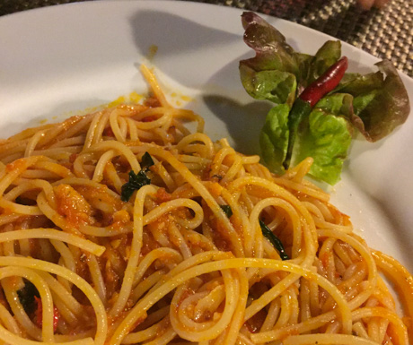 Spaghetti with chilli and garlic at Marco Polo