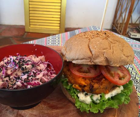 Vegan burger and slaw at Dao of Life