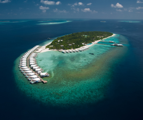 The beautiful island of Amilla Fushi in the Maldives.