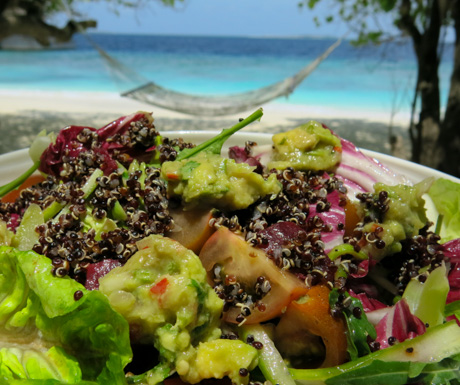 vegan salad was full of nutrition and vegan superfoods at Amilla Fushi