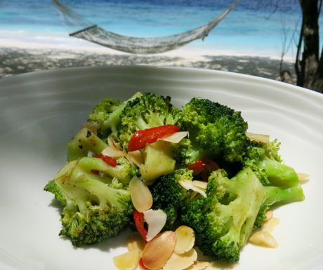 Healthy broccoli, almonds and fresh chillies.