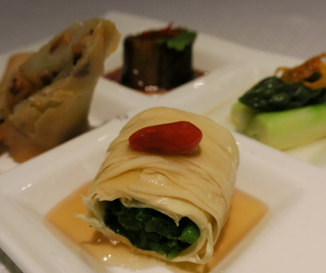 Selection of vegan appetisers at Hoi King Heen.