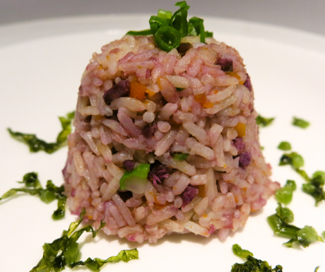 Eating the rainbow with this purple sweet potato and pumpkin fried rice.