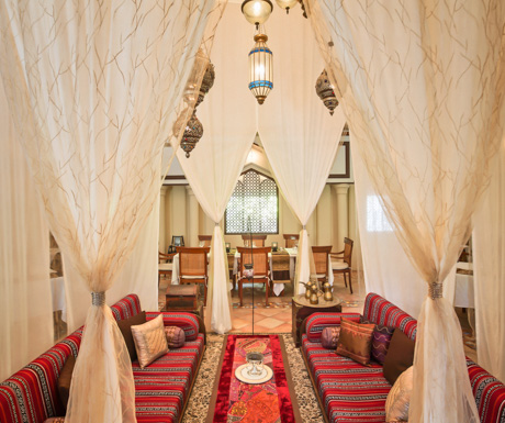 Al Qasr was complete with Middle Eastern style drapes and furnishings.