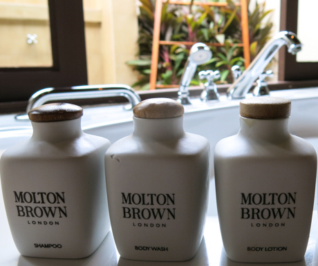 Molton Brown in eco conscious refillable containers at Kurumba Maldives