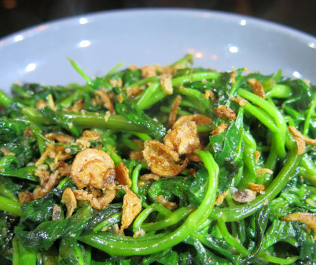 Simple, delicious and packed with vitamins this Kang Kong (water spinach) was delicious.