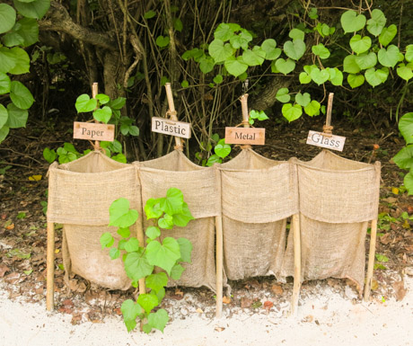 Recycling is encouraged at Six Senses Laamu.