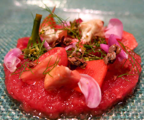 Watermelon Tartare at Six Senses Laamu's 'Leaf'.