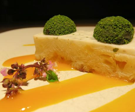 Green tea truffles on a sago pudding slice