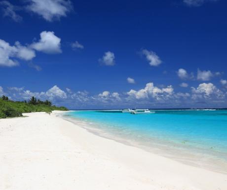 The beach at Six Senses Laamu