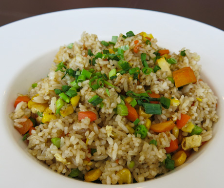 Our fried rice was packed with vegetables and 2 types of tofu...