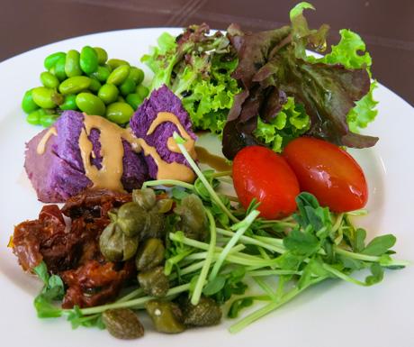 healthy salad for breakfast at Hong Kong SkyCity Marriott