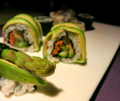 sushi platter full of avocado, asparagus and fresh vegetables at Soneva Fushi