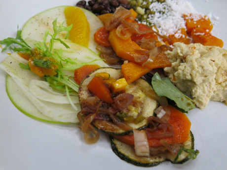 vegan salads in the buffet restaurant at Soneva Fushi
