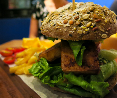 vegan burger at About Animals in Taipei